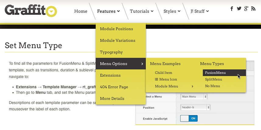 Menu Options Graffito Wordpress Demo